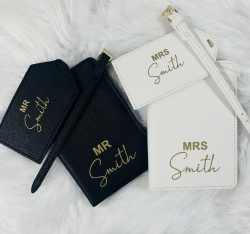 Personalised Mr & Mrs Faux Leather Travel Set