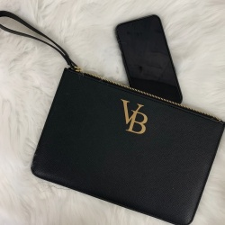 FLASH SALE - Black 'Louise' Inspired Initial PU Leather Clutch Bag