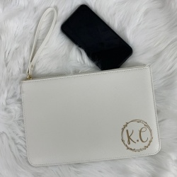 Monogram Initial PU Leather Clutch Bag