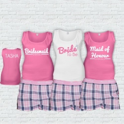 Pink Jaquard Bridal Party Short Check PJ's