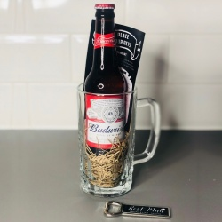 Personalised Pint & Budweiser Gift Set