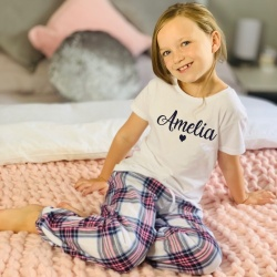 Girls Personalised Pink Tartan Pyjamas - Twinning