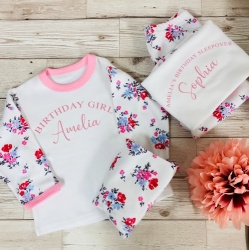Personalised Floral Sleepover Children's Pyjamas