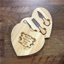 Personalised Wooden Heart Swivel Cheeseboard And Knife Set Crest Design