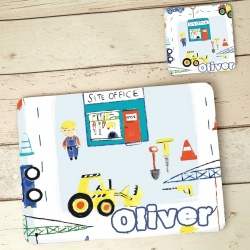 Digger Placemat and Coaster Set