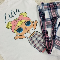 Personalised Custom Made Pink Tartan LOL PJ Set