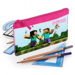Pink Minecraft Personalised Pencil Case