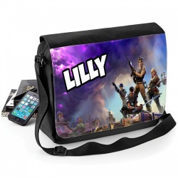 Black Fortnite Personalised Messenger Bag