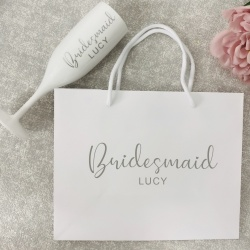 Christy Personalised White Gift Bag & Flute