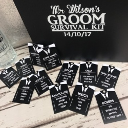 Suit up Groom Survival Tags x 12