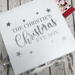 Personalised White & Silver Christmas Eve Box
