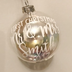 Personalised Glass Bauble - First Xmas as...