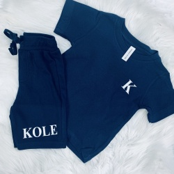 Personalised Navy Short & T Set