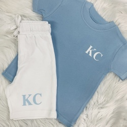 Personalised Pale Blue & White Initials Short & T Set