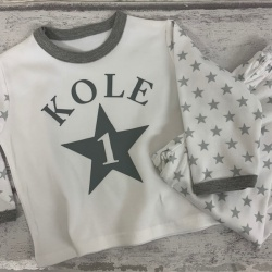 Personalised Grey Star Birthday Pyjamas