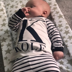 Big Letter Name Navy Stripe Personalised Pyjamas