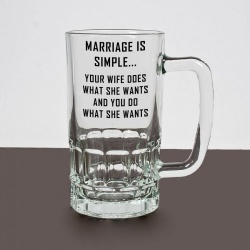 'Marriage is simple' Novelty Pint Glass Tankard