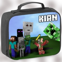 Black Character Personalised Minecraft Lunch Bag