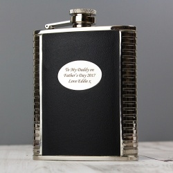 Steel and Black Leather Hip Flask Set