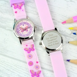 Girls Engraved Time Teacher Butterfly Watch with Presentation Box