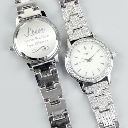 Personalised Silver Engraved  Ladies Watch with Gift Box