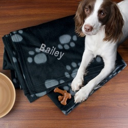 Dog Paw Print Fleece Blanket Personalised