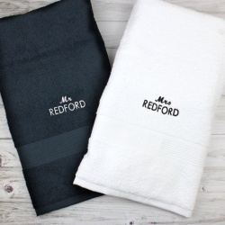 Personalised Black & White Towels