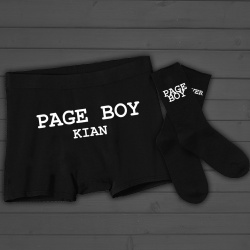 Childrens Personalised 'Page Boy' Boxer Shorts and Socks Set