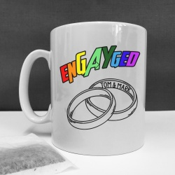 Personalised Gay Wedding 'enGAYged'  Mug