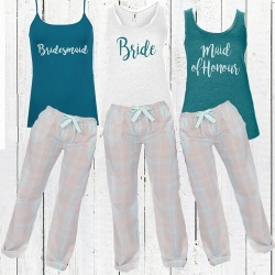 Aqua Teal Bridal Party Long Check PJ's