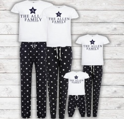 Navy Star Personalised Family Name Pyjamas