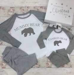 Personalised Polar Bear Grey Family Pyjamas