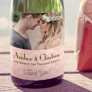 Pale Pink Personalised Photo Wine Bottle Labels